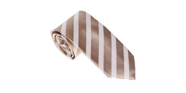 Luxusní zlatavá kravata s pruhem Castellet Barcelona