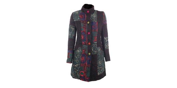 Dámský barevný kabát s vyšívanými knoflíky DY Dislay Design