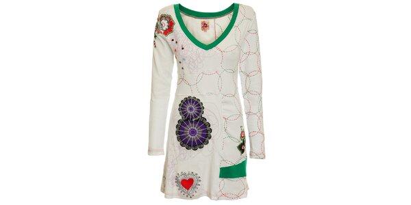 Dámské bílé vyšívané šaty Dislay DY Design s výšivkou a knoflíčky