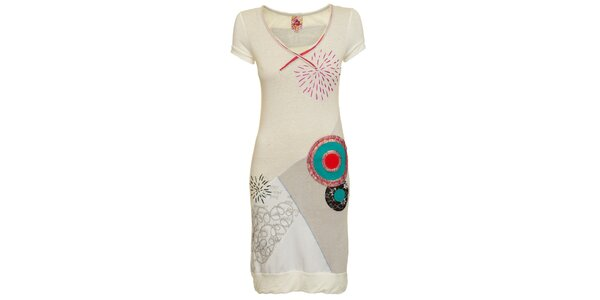 Dámské krémovo-bílé šaty s tyrkysovými kolečky Dislay DY Design