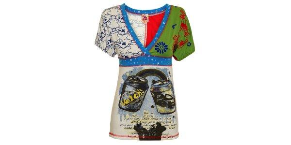 Dámské pestré triko s plechovkami a květinami Dislay DY Design