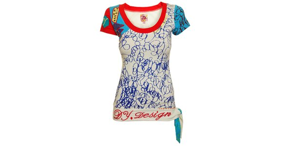 Dámské červeno-bílé triko s modrými detaily a zavazováním Dislay DY Design