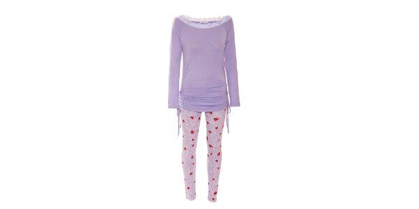 Pyžamko značky Bacirubati s motivy růžív barvě lila