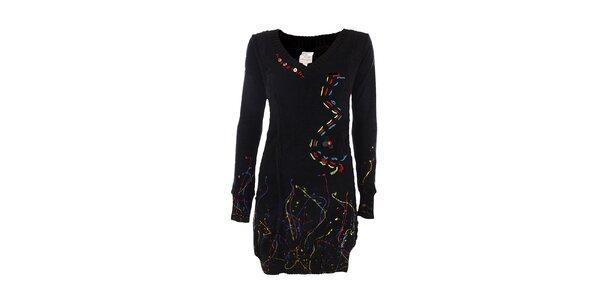 Dámské černé šaty s barevnými detaily DY Dislay Design
