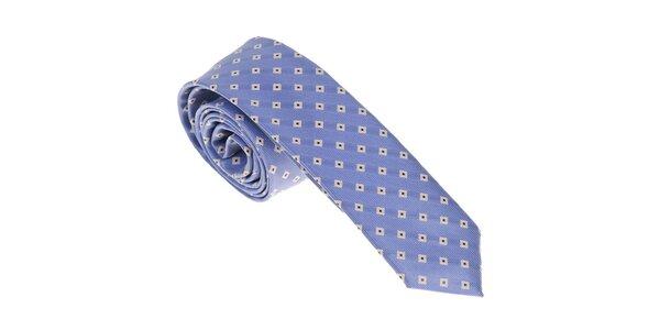 Luxusní světle modrá kravata se vzorkem Castellet Barcelona