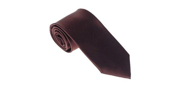 Luxusní tmavě hnědá kravata Castellet Barcelona