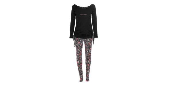 Pyžamko značky Bacirubati s motivy růží v černé barvě