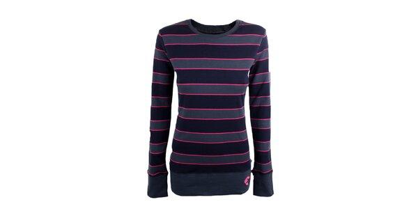 Dámské černo-šedé tričko s růžovými proužky Authority