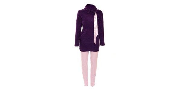 Hřejivé dámské pyžamko značky Bacirubati fialové barvy