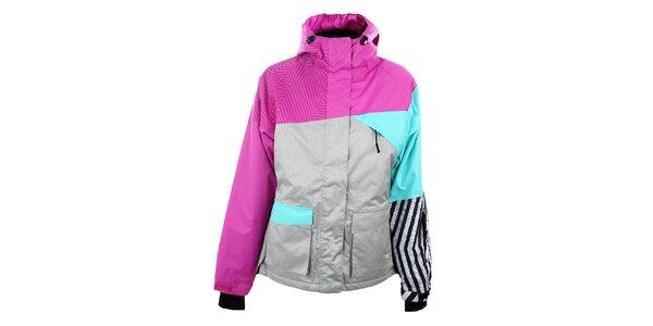 Dámská šedo-růžová lyžařská bunda Authority