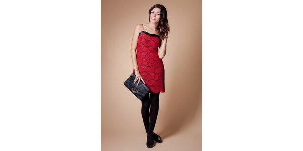 Dámské červené krajkové šaty Poete