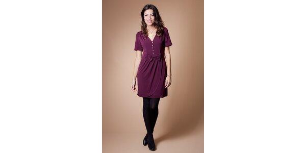 Dámské vínové šaty Poete s mašlí