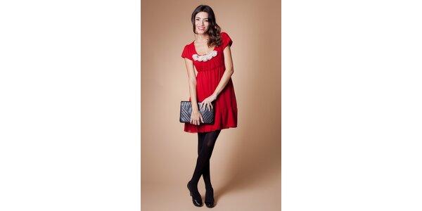 Dámské červené šaty Poete s bílými růžičkami