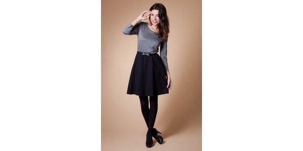 Dámské černo-šedé šaty Poete