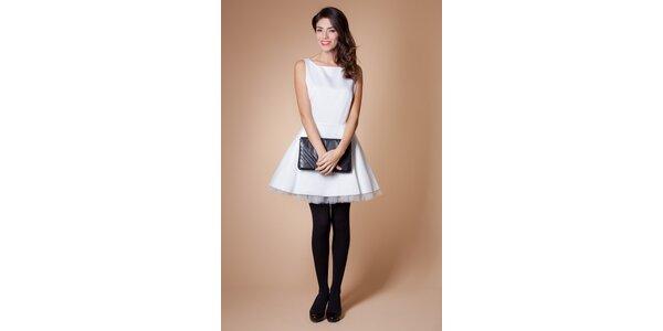 Dámské bílé koktejlové šaty Poete s tylovou spodničkou