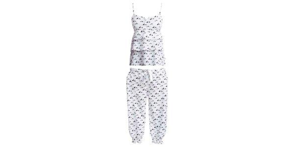 Dámský set košilky s 3/4 pyžamových kalhot s potiskem psíků MaybeBlu