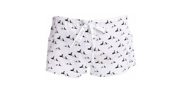 Dámské krátké pyžamové šortky s potiskem psíků MaybeBlu