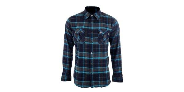 Pánská šedo-modrá kostkovaná košile Authority