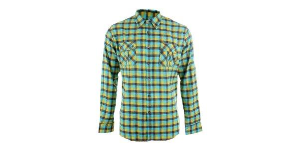 Pánská žluto-tyrkysová kostkovaná košile Authority