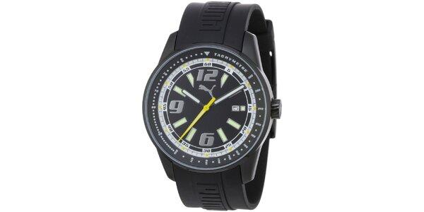Pánské černé ocelové hodinky Puma s gumovým náramkem