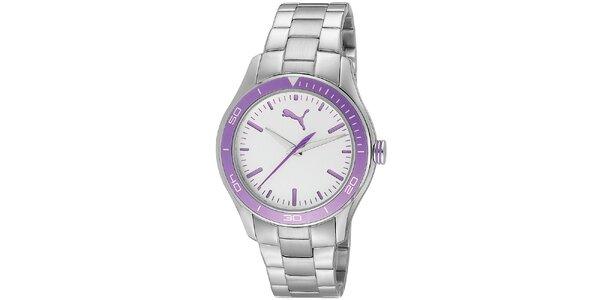 Dámské ocelové hodinky s fialovými detaily Puma