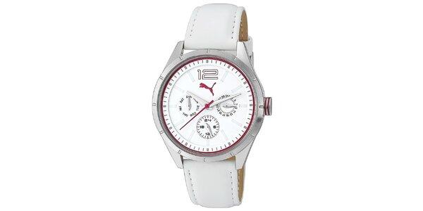 Dámské bílé analogové multifunkční hodinky Puma