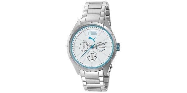 Dámské multifunkční stříbrné hodinky s tyrkysovými detaily Puma