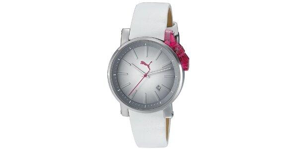 Dámské stříbrno-bílé hodinky s růžovými detaily Puma