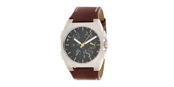 Pánské hnědo-černé hodinky se žlutými prvky Puma