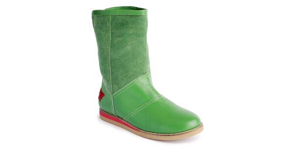 Dámské zelené nízké kozačky s mašlí Lola Ramona