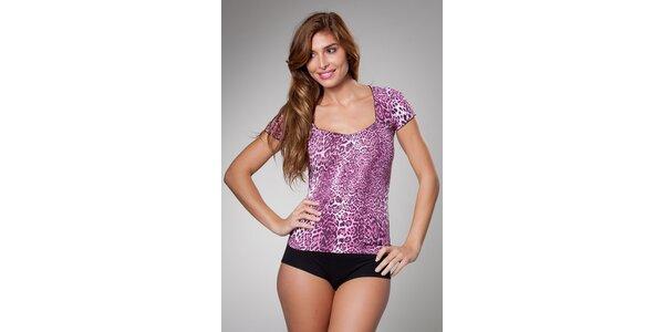 Dámské růžové leopardí tričko Frankie Morello