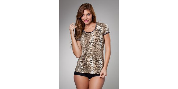 Dámské hnědé leopardí tričko Frankie Morello