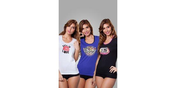 Sada tří dámských triček Frankie Morello - bílé, modré a černé