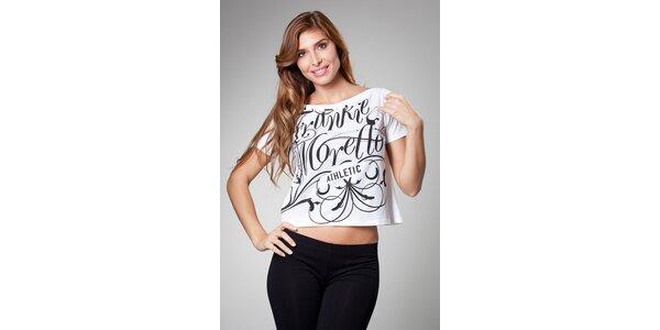 Dámské bílé tričko Frankie Morello s černým potiskem