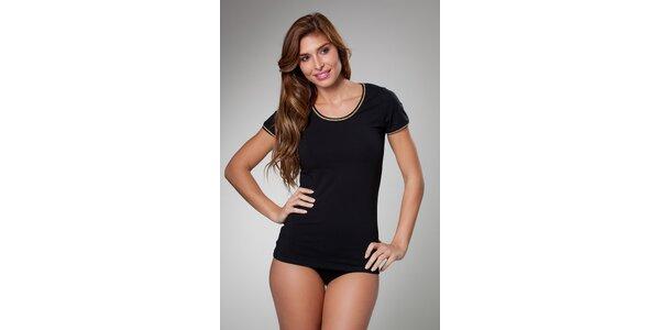 Dámské černé tričko Frankie Morello se zlatým lemem