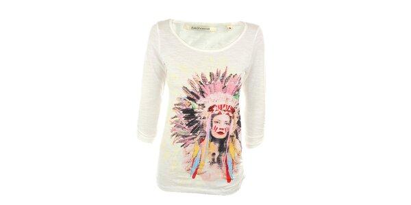 Dámské bílé tričko s indiánkou Emoi
