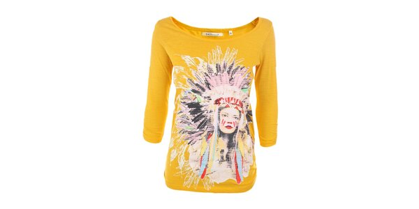 Dámské žluté tričko s indiánkou Emoi