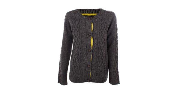 Dámský tmavě šedý pletený propínací svetr Emoi