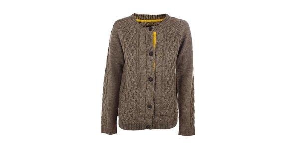 Dámský hnědo-béžový pletený propínací svetr Emoi