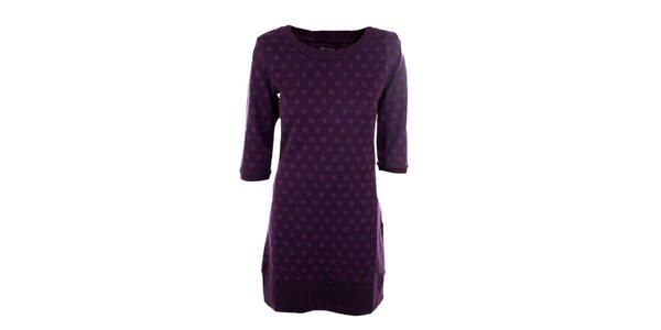 Dámské fialové šaty s puntíky Emoi