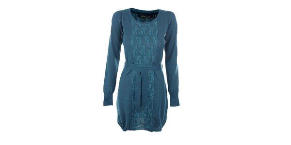 Dámské modré šaty Emoi s páskem