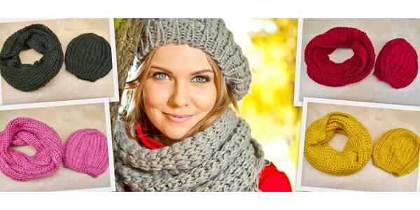 Pletené čepice se šálou v mnoha slušivých barvách