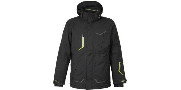 Pánská černá lyžařská bunda Bergson se zelenými detaily