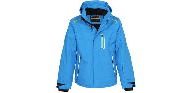 Pánská modrá lyžařská bunda se zelenými detaily Bergson