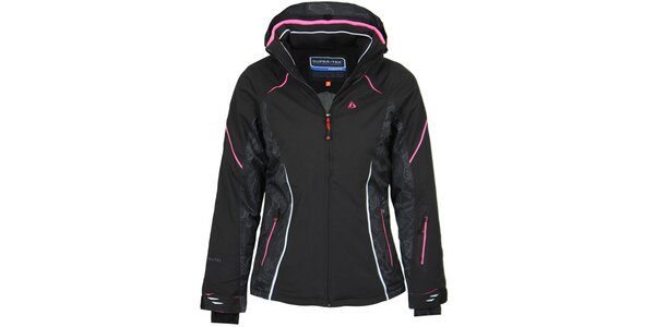 Dámská černá lyžařská bunda s růžovými detaily Bergson