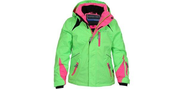 Dětská zeleno-růžová lyžařská bunda Bergson