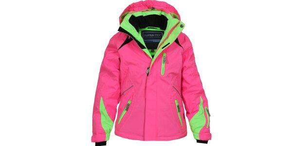 Dětská růžovo-zelená lyžařská bunda Bergson