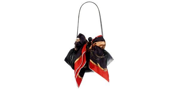 Dámská černá kožená kabelka s šátkem Liedownithinkiloveyou