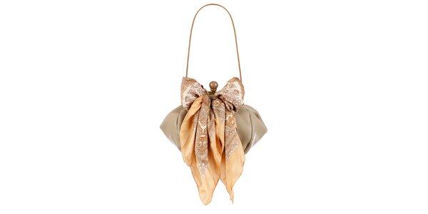 Dámská béžová kožená kabelka s šátkem Liedownithinkiloveyou