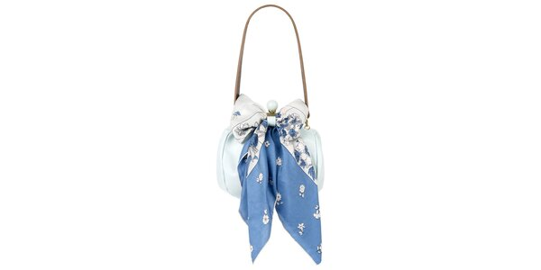 Dámská světle modrá kožená kabelka s šátkem Liedownithinkiloveyou
